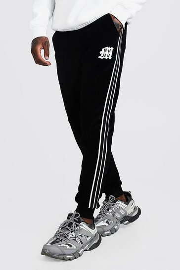 Mens Black 'M' Embroidered Joggers With Tape Detail