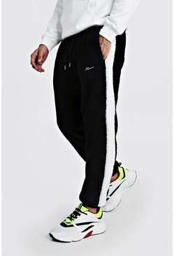Mens Black MAN Signature Borg Joggers With Panels