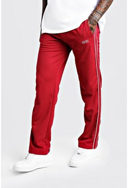 Mens Burgundy Original MAN Straight Leg Smart Waffle Jogger