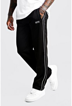 Mens Black Original MAN Straight Leg Smart Waffle Jogger