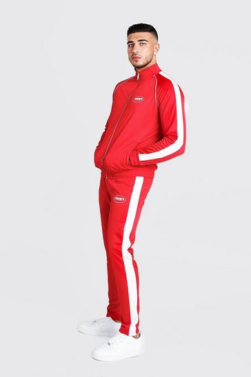 Mens Red  MAN Funnel Neck Tricot Tracksuit With Side Tape
