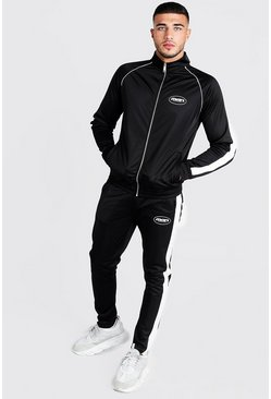 Black MAN Funnel Neck Tricot Tracksuit With Side Tape