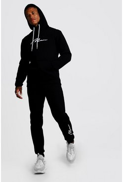Black 3D MAN Signature Embroidered Hooded Tracksuit