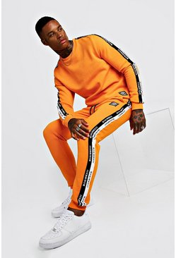 Mens Orange Sweater Tracksuit With MAN Tape & Badge