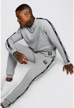 Mens Grey Sweater Tracksuit With MAN Tape & Badge