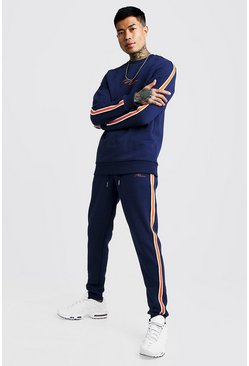 Navy MAN Signature Sweater Tracksuit With Tape Detail