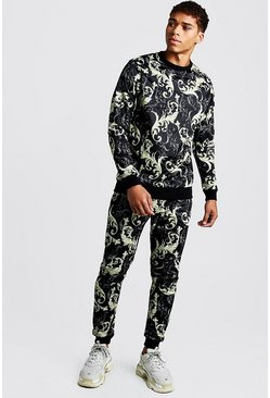 Mens Black Scuba Baroque Sweater Tracksuit