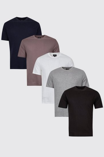 Mens 5 Pack Multi Basic Crew Neck T-Shirts