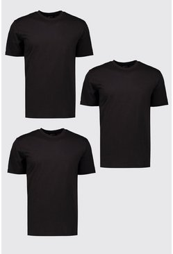 Mens 3 Pack Black Basic Crew Neck T-Shirts