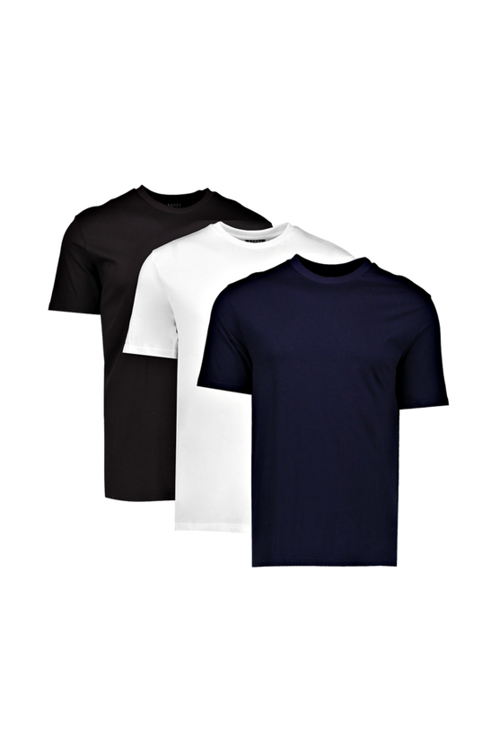 3 Pack Multi Basic Crew Neck T-Shirts