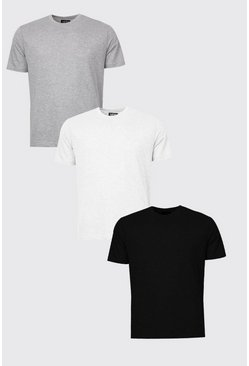 Mens 3 Pack Multi Basic Crew Neck T-Shirts