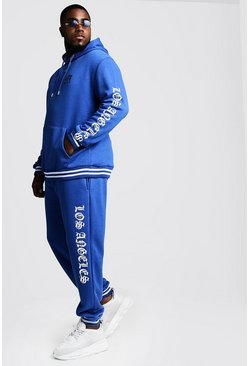 Blue Big & Tall Tracksuit With Embroidery