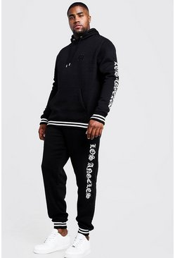 Mens Black Big & Tall Tracksuit With Embroidery