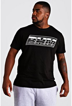 Black Big & Tall MAN Branded T-Shirt With Rubber Tab