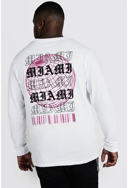 Mens White Big & Tall Long Sleeve T-Shirt With Print