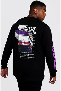 Black Big & Tall Error Long Sleeve T-Shirt