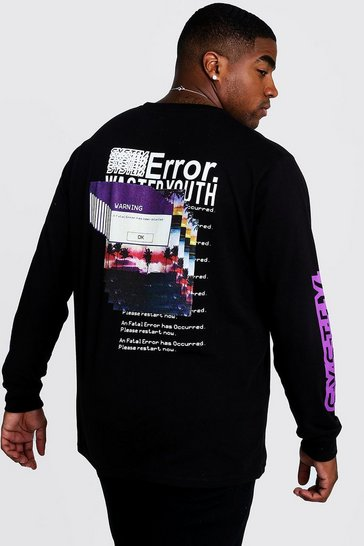 Mens Black Big & Tall Error Long Sleeve T-Shirt