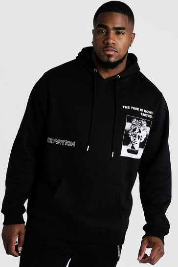 Mens Black Big & Tall Front Print Hoodie