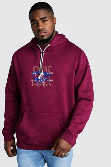Mens Purple Big & Tall Front & Back Print Hoodie