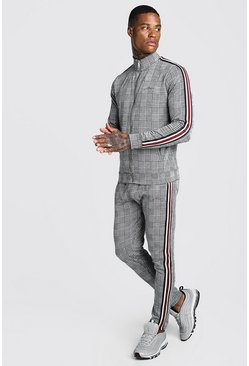 Mens Black MAN Signature Jacquard Funnel Neck Tape Tracksuit