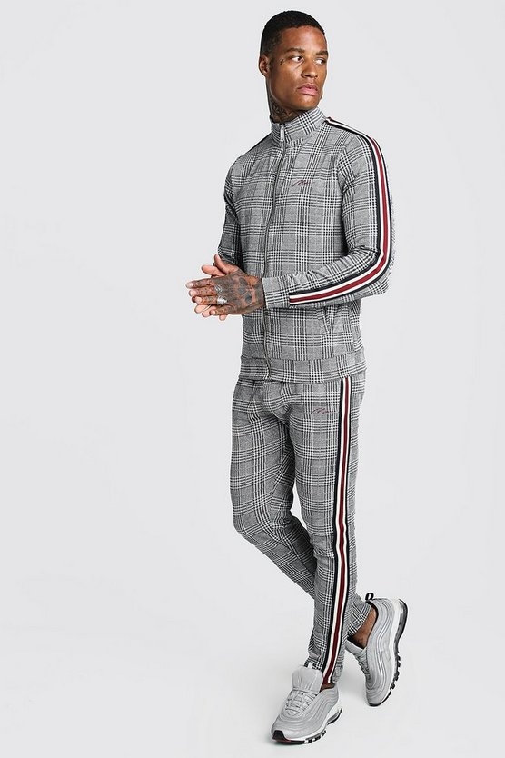 man-signature-jacquard-funnel-neck-tape-tracksuit by boohoo