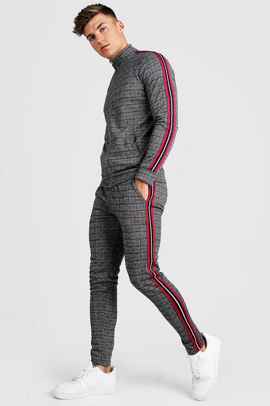 Raspberry MAN Signature Skinny Fit Jacquard Tracksuit With Tape