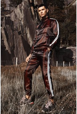 Mens Red MAN Iridescent Shell Funnel Neck Tape Tracksuit