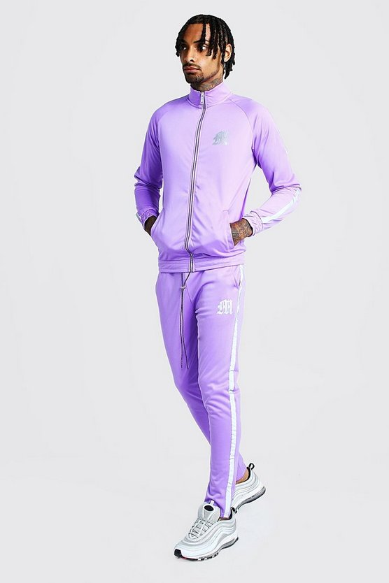 Mens Purple Reflective 'M' Funnel Neck Tricot Tape Tracksuit