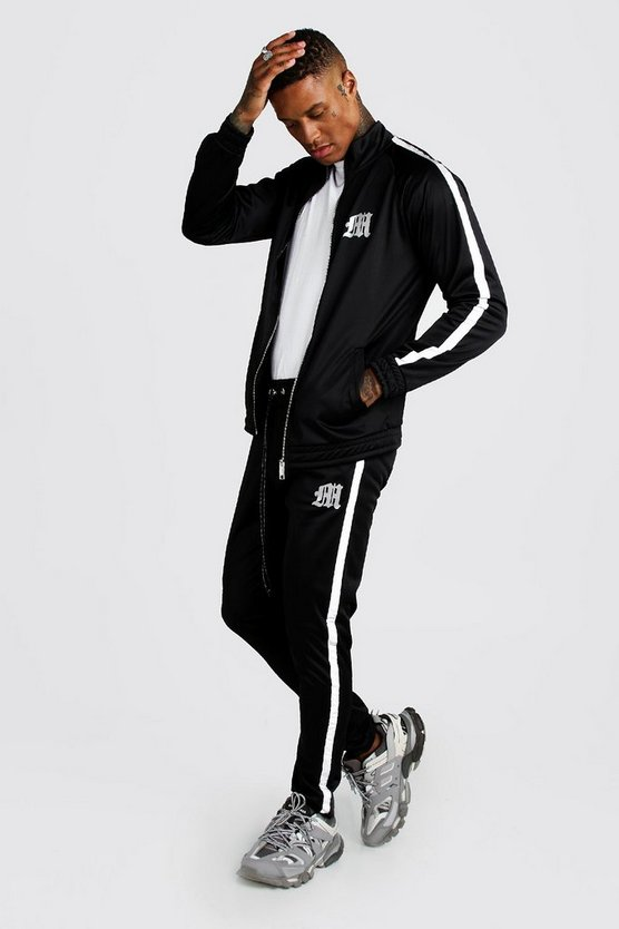 Mens Black Reflective 'M' Tricot Tape Track Top And Jogger Set