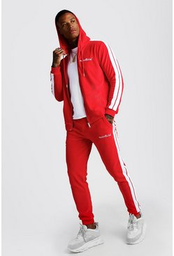 Mens Red Man Official Velour Tracksuit With Side Tape