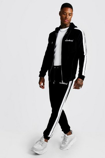 Mens Black MAN Official Velour Tracksuit With Side Tape