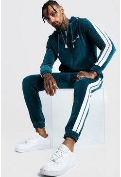 Mens Teal MAN Official Velour Tracksuit With Side Tape