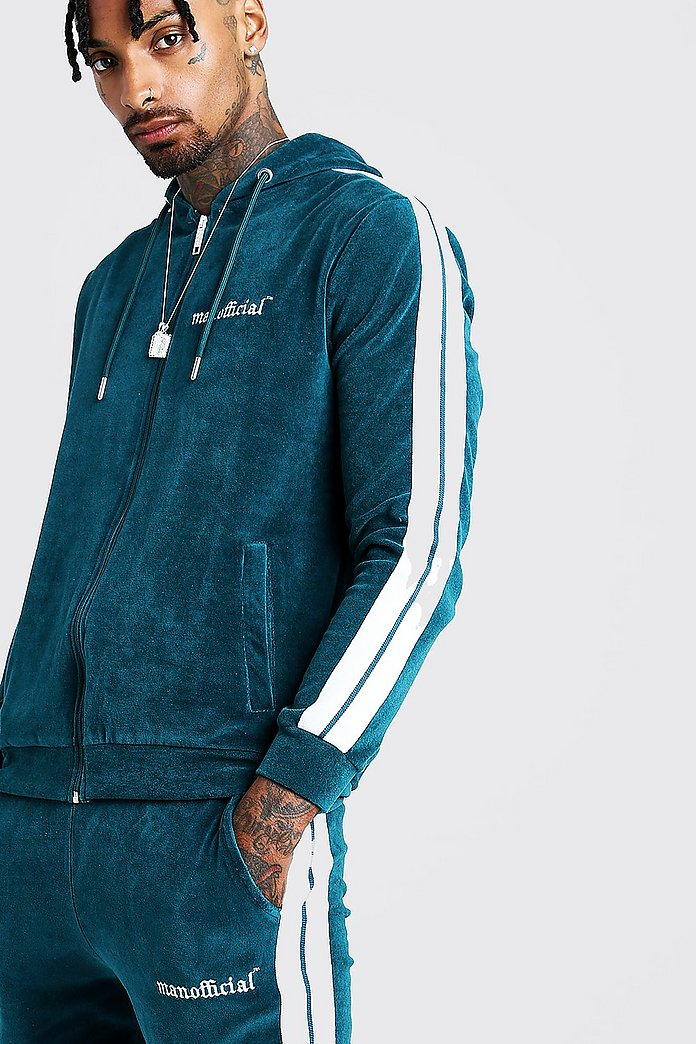 Man Official Velour Tracksuit With Side Tape Boohooman Uk