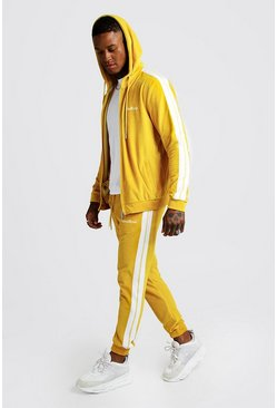 Mens Yellow MAN Official Velour Tracksuit With Side Tape