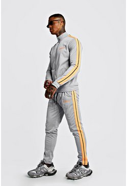 Light grey MAN Tricot Funnel Neck Neon Tape Tracksuit