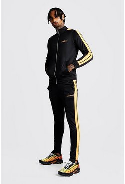 Black MAN Tricot Funnel Neck Neon Tape Tracksuit