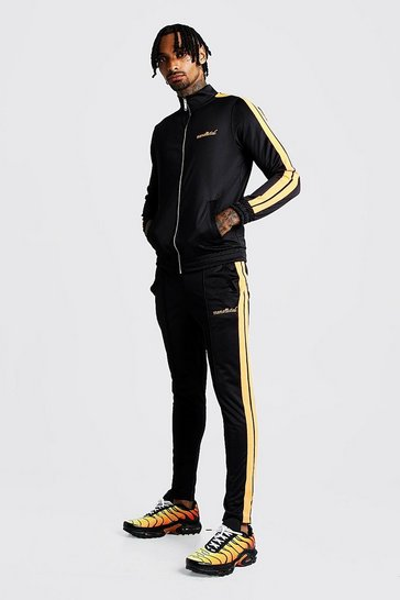 Mens Black MAN Tricot Funnel Neck Neon Tape Tracksuit
