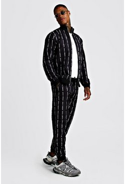 Mens Black MAN MMXIII All Over Print Shell Funnel Tracksuit