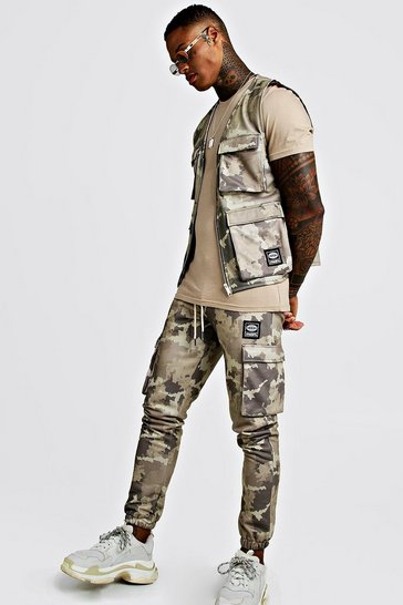 Mens Khaki Camo Utility Vest & Jogger Set With Woven MAN Tab