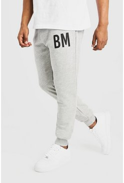 Mens Grey BM Print Slim Fit Joggers