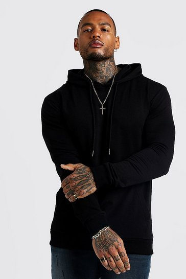 Black Basic Muscle Fit Over The Head Hoodie