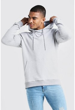 Herr Grey Basic Muscle Fit Over The Head Hoodie