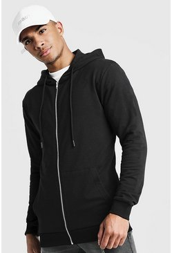 Mens Black Basic Muscle Fit Zip Through Hoodie