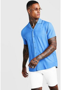 Blue Jacquard Animal Short Sleeve Revere Shirt