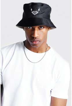 Mens Black Mist Diamond Embroidered Bucket Hat