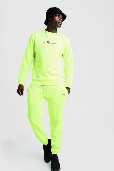 Mens Neon-yellow MAN Signature Regular Sweater Tracksuit