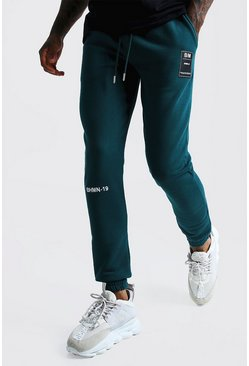 Mens Teal BHM-19 Embroidered Joggers With Woven Badge