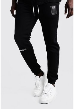 Mens Black BHM-19 Embroidered Joggers With Woven Badge