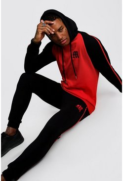 Mens Red 'M' Embroidered Colour Block Tape Tracksuit