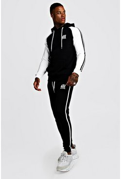 Mens Black 'M' Embroidered Colour Block Tape Tracksuit
